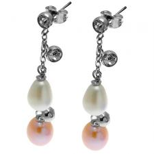 Elegant Stainless Steel Earrings w/ River Pearl and CZ Embellishments