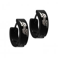Black PVD Coated Stainless Steel Huggie Earrings with Dragon Laser Graphic