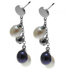 Simply Elegant Stainless Steel Earrings w/ Steel and Dark River Pearl Embellishments
