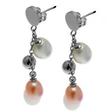 Simply Elegant Stainless Steel Earrings w/ Steel Beads and River Pearl Embellishments