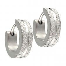 Stainless Steel Huggie Earrings With Sandblast Textured Outer Edges
