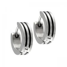 Stainless Steel Huggie Earrings with Black Enamel Vertical Stripes