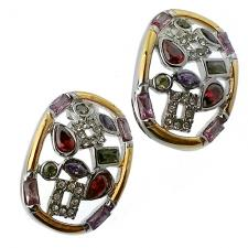 Vintage looking Earrings with color stones