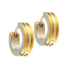 Stainless Steel Huggie Earrings With Gold PVD Striped Outer Edges