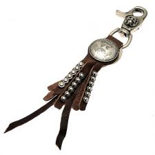 Metal Keychain with Brown Leather Tassels and USA Half Dollar Medallion