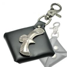 Key Chain with leather Pouch and Eagle Rivet