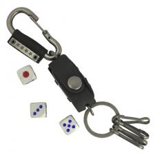 Metal Keychain Clip with Black Leather Carrier and Dice