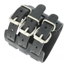 Wide Black Cuff Wristband Leather Bracelet with Stainless Steel Buckles