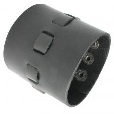 Wide Black Leather Bracelet