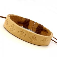 Beige Color Leather Bracelet with Stamped Cross Design
