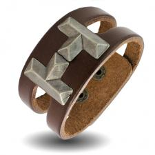 Brown Leather Bracelet with Brass H shape accent