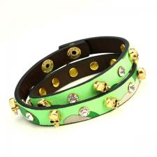 Leather Bracelet with Green and Beige Camouflage and Skulls