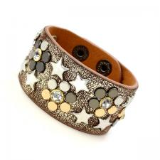 Leather Cuff Bracelet with Copper Tone Texture and Colored Rivets