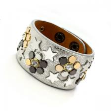 Leather Cuff Bracelet with Silver Texture and Colored Rivets