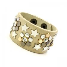 Leather Cuff Bracelet with Beige Texture and Colored Rivets