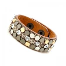 Leather Cuff Bracelet with Gold Tone Texture and Colored Rivets