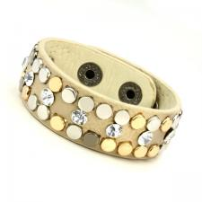 Leather Cuff Bracelet with Cream Tone Texture and Colored Rivets