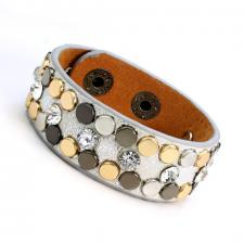 Leather Cuff Bracelet with Silver Tone Texture and Colored Rivets