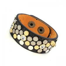 Leather Cuff Bracelet with Ebony Tone Texture and Colored Rivets