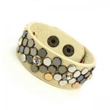 Leather Cuff Bracelet with Beige Tone Texture and Colored Rivets