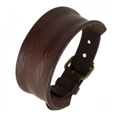 Stressed Brown Leather Bracelet with Antique Buckle