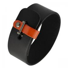 Black Leather Bracelet with Leather Clasp