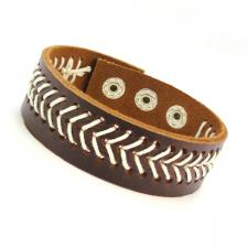 Brown Leather Bracelet with With white V Shape woven pattern