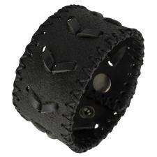 Black Leather Weave Design Bracelet