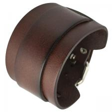 Brown Leather Bracelet with Adjustable Buckle