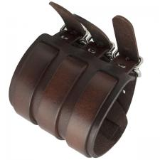 Wide Brown Leather Bracelet with Triple Buckle