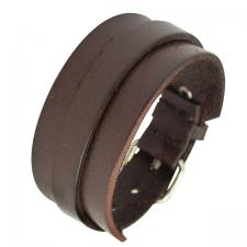 Brown Leather Bracelet with Buckle