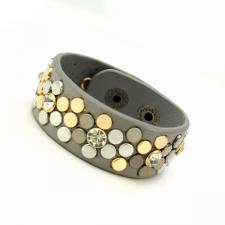 Leather Cuff Bracelet with Grey Tone Texture and Colored Rivets