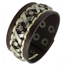 Brown Leather Bracelet and Stainless Steel X designs