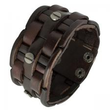 Brown Weaved Leather Bracelet with Nail Screw Design