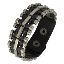 Black Leather Bracelet with Metal Links