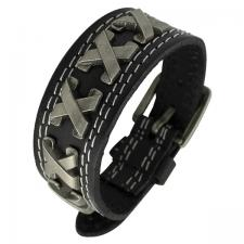 Black Leather Bracelet with Metal X and Buckle