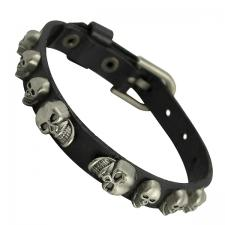 Thin Black Leather Bracelet with Skull Heads