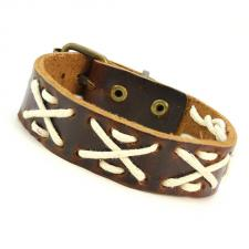 Brown Leather Bracelet with White cord in X pattern