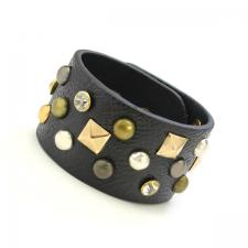 Black Leather Bracelet with Color Rivets 65mm wide