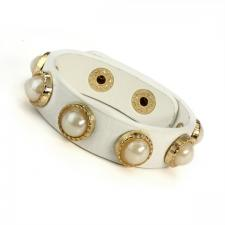 Cream Leather Bracelet with Faux Pearl Embellishments