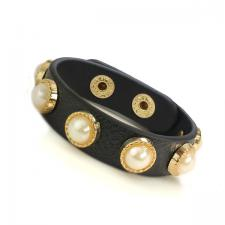 Black Leather Bracelet with Faux Pearl Embellishments