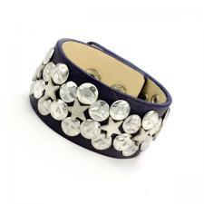Dark Purple Leather Bracelet with Rivet accents