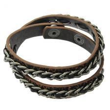 Brown Leather Strap Around Bracelet with Brass Chain