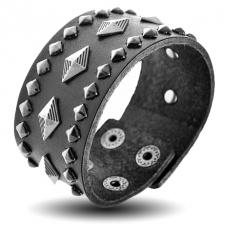 Diamond Rivets Leather Bracelet
