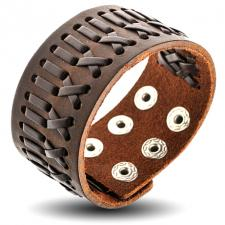 Brown Leather Bracelet with Woven Pattern