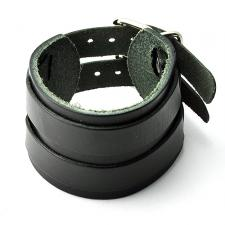 Black Leather Cuff Bracelet w/ Double Straps and Buckles