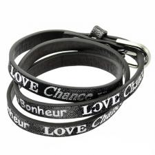 Wrap around Black leather bracelet with Inspirational Lettering