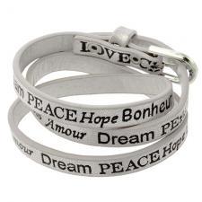 Wrap around White Smoke leather bracelet with Inspirational Words