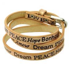 Wrap around Sandy Brown leather bracelet with Inspirational Words