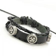 Black Leather Bracelet with Maltese Cross Rivets